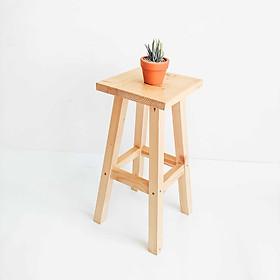 Ghế đôn cao lắp ráp, ghế bar trang trí gỗ Thông thịt dày, bàn ngồi ban công tiện gọn
