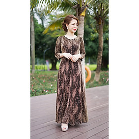 Váy Trung Niên - Đầm Quý Bà thiết kế chất Thun lưới kim sa 2 lớp - thu đông dày dặn cao cấp/Váy cho mẹ - người già (Mã 526)