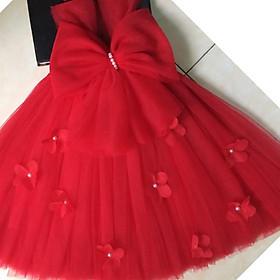 Váy công chúa đỏ nơ hoa dải cho bé yêu