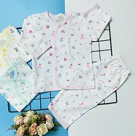 Combo 3 bộ áo quần sơ sinh tay dài cài nút xéo họa tiết J-TomTom Baby cho bé trai, bé gái - hàng Việt Nam chất lượng