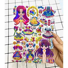 Hình Dán Bé gái sticker Nổi 3D set 2 bảng