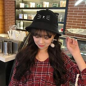 Mũ bucket nhung gân Mèo