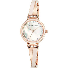 Anne Klein Women's AK/2216BLRG Swarovski Crystal-Accented Rose Gold-Tone and Blush Pink Bangle Watch