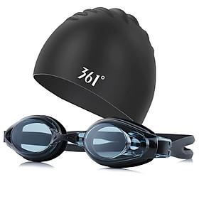Set Mũ + Kính Bơi 361° Bằng Silicone Với Mặt Kính HD Chống Mờ - Tùy Chọn