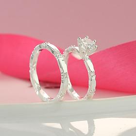 Nhẫn bạc cặp bạn thân nhẫn bạc đôi nữ đẹp giá rẻ ND0229