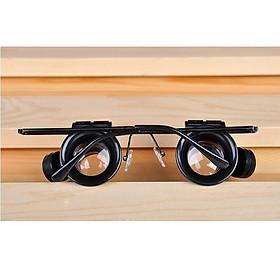 Kính lúp đeo mắt 20x thiết kế thông minh, tiện lợi có đèn hỗ trợ sáng Version1 ( Tặng kèm miếng thép sửa chữa đa năng 11in1 )