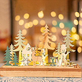 Christmas LED Light Wood Shell Stars Triangle Tree Snowman Shape Lovely Decoration Lamp Night Illumination