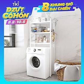 Kệ để đồ trên Máy giặt INOX 304 trắng 3 tầng kệ đồ đa năng toilet nhà tắm tiết kiệm cho không gian nhỏ hẹp VANDO