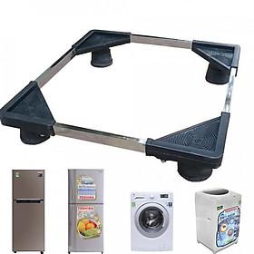 Chân Đế Kê Tủ Lạnh - Máy Giặt Khung Inox Đế Nhựa Chống Rung QS , Chân Kệ Máy Giặt Tủ Lạnh Khung Inox + Tặng Bộ 5 Móc Dán Tường Siêu Chắc