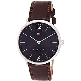Tommy Hilfiger Men's Sophisticated Sport Stainless Steel Quartz Watch with Leather Calfskin Strap, Brown, 20 (Model: 1710352)