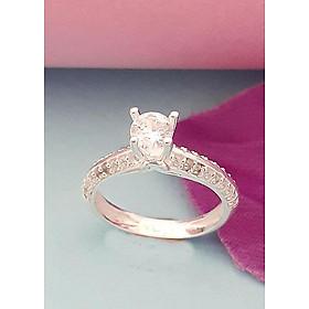 Hình đại diện sản phẩm Nhẫn nữ 100% bạc ta không xi mạ ổ cao gắn kim cương nhân tạo màu trắng Bạc Quang Thản - BQTJ26-119(bạc)