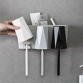 Hộp đựng bàn chải kim cương dán tường phòng tắm sang trọng, kệ treo bàn chải và ly súc miệng (tặng kèm 3 ly ) GD302-HBC-KimCuong