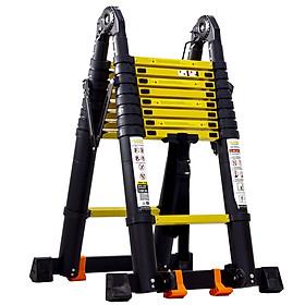 Thang nhôm rút đôi Sumika SKS560D (2.8M+2.8M) - Sơn tĩnh điện, chống trầy xước, khóa chốt cao cấp, nhiều đế cao su chống trượt, bậc thang diện tích rộng, thanh giằng giữa 2 bên thang