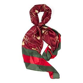 Khăn Choàng Cổ Lụa Họa Tiết Thắt Nút Đỏ Viền Xanh Lá - Silk - 180x90cm - Mã KS025