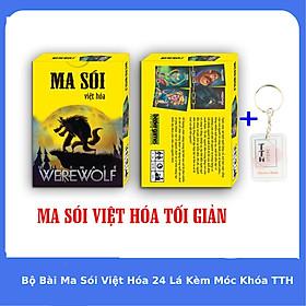 Bộ Bài Ma Sói Việt Hóa Cơ Bản  24 Lá Chống Thấm Nước Kèm Móc Khóa TTH