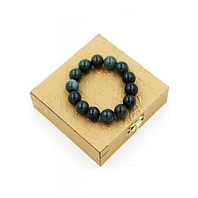 Vòng tay chuỗi hạt cẩm thạch xanh đậm 14 ly 14 hạt kèm hộp gỗ