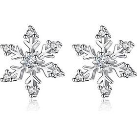 Bạc 925 Bông tai bạc nữ Hoa Tuyết - Trang sức Panmila (HT.B2.B)