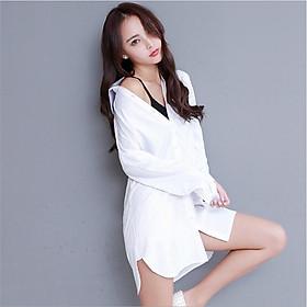 Đầm sơ mi nữ, áo sơ mi dáng dài mặc dấu quần hàng nhập s156