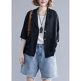 Áo vest Blazer Linen nữ dáng lửng tay lỡ 1 lớp LAHstore, chất vải linen mềm mại, thời trang xuân hè