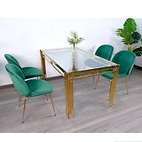 Bộ Bàn Ăn Luxury Kính 8mm BBTT-BK01 Chân Mạ Vàng Siêu Phẩm của Năm - Kích Thước 1.4m x 80cm và 4 Ghế Bọc Nệm Cao Cấp (Màu ghế ngẫu nhiên)