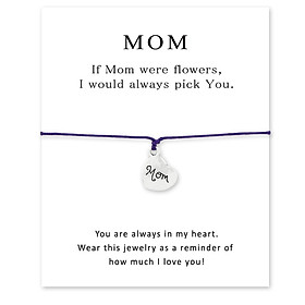 Birthday Gift Mom Heart Bracelet Rope Jewelry with Paper Card