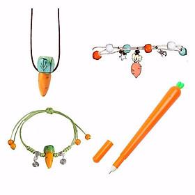 Combo 4 món trang sức cà rốt gồm vòng cổ vòng tay lắc tay bút bi