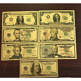 Bộ Tiền Đô Mỹ 7 Tờ Lưu Niệm bằng plastic vàng, seri 9999999