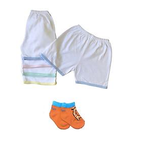 Combo 5 quần đùi sơ sinh cotton trắng viền màu -JOU002( Tặng kèm 1 đôi tất cotton Tomtom Baby như hình )