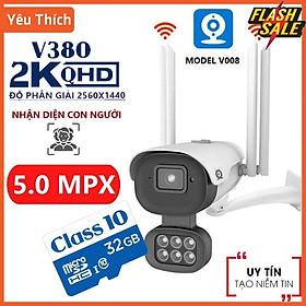 Camera Ngoài Trời Xoay 360 Độ V380 pro V008 5.0Mpx Đàm Thoại 2 Chiều - Sử Dụng Tiếng Việt - Hàng Nhập Khẩu