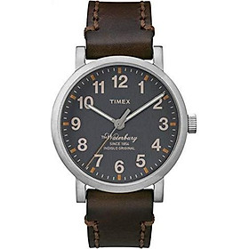 Đồng hồ nam Timex Waterbury TW2P58700 mặt số xám dây nâu Nhập Khẩu Mỹ