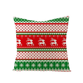 Christmas Series Knit Lines Linen Throw Pillow Cover for Home Sofa Decor Not Including Filling