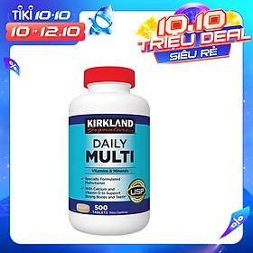 Vitamin Tổng Hợp Multivitamin Kirkland 500 Viên cho người dưới 50 tuổi, bổ sung vitamin khoáng chất cho cả nam va nữ, tăng cường hệ miễn dịch, sáng mắt, giảm căng thẳng mệt mỏi