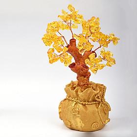Cây tài lộc phong thủy đá thạch anh vàng decor để bàn - Quà biếu tặng ý nghĩa