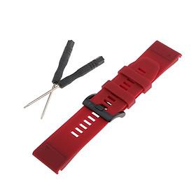 Replacement Rubber Wristwatch Band Watch Strap for Garmin Fenix 5X Plus - Mens Sports Watch Bracelet Strap, Watch Tools