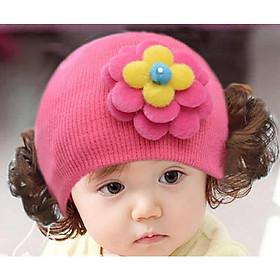 Nón len bé gái phối tóc giả , mũ len bé gái phối tóc giả DN20052351