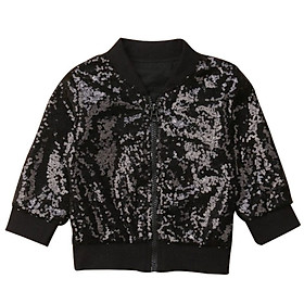 Children Personality All-match Casual Sequin Zipper Long Sleeve Solid Color Girl Jacket
