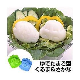 Combo khuôn tạo hình cơm, trứng hình cá và ô tô + Bộ thìa nĩa nhựa cho bé nội địa Nhật Bản