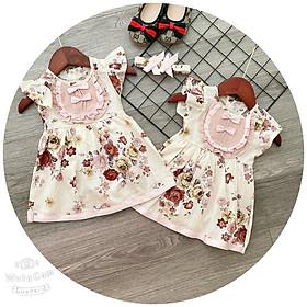 Body cho bé gái giả váy kiểu tay con kèm tuban chất kate lụa cho bé từ 3kg đến 12kg