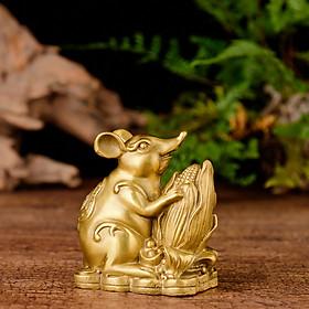 Tượng con chuột bên bắp ngô bằng đồng thau cỡ nhỏ phong thủy Hồng Thắng
