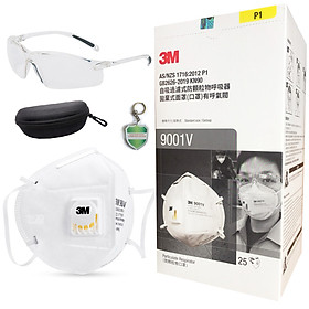 Bộ bảo vệ hệ hô hấp chống bụi: 1 Hộp khẩu trang 3M 9001V chống bụi siêu mịn PM2.5 có van thở, màu trắng, thời trang và 1 bộ kính Honeywell A700 trắng; tặng móc khóa