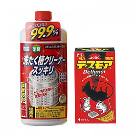 Combo Thuốc diệt chuột Dethmor dạng viên + Nước tẩy vệ sinh lồng máy giặt Rocket nội địa Nhật Bản