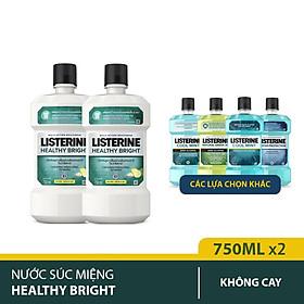 Bộ 2 Chai Nước Súc Miệng làm trắng răng LISTERINE HEALTHY BRIGHT 750mlx2 Chai