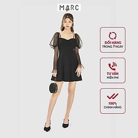 Đầm nữ MARC FASHION mini nơ ngực tay lưới smocking