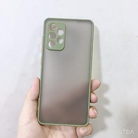 Ốp lưng viền màu, lưng nhám chống sốc, bảo vệ camera, phím bấm màu dành cho Samsung A52, Samsung A72