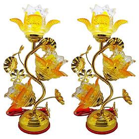 Bộ 2 đèn thờ pha lê cao cấp hoa Tulip vàng VDT-214