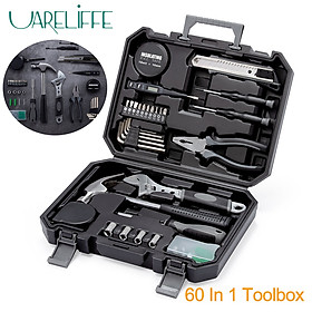 Uareliffe Hand Tool Set With Storage Box 60 In 1 General Household Repair Toolbox Alloy Steel Material Wrench Screwdriver Repair Disassembly Hand Tool Kit Safety Durable Daily Repair Tools