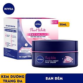Kem Dưỡng Nivea Ngọc Trai Làm Sáng Da Ban Đêm 50ml 5 in 1 Pearl Filler Pearl White Night Face Cream - 86740
