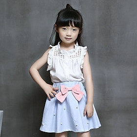 2Pcs Kids Clothes for Girls The Bow Skirt and Lace Top Summer Suit Korean Style Children's Clothing Sets Baby Toddler Set