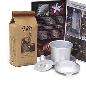 Quà Tặng Tết 2021 Set cà phê bột Anni Coffee truyền thống gói 200 gram + 1 phin nhôm cao cấp