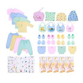 Combo 84 món sơ sinh Mintuu cho bé 0 - 3 tháng ( 100% Cotton)